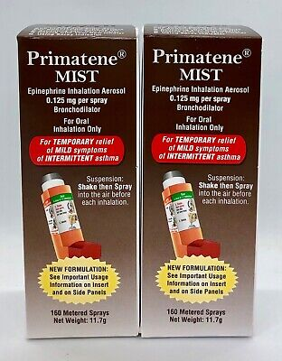 2 Pk Of Primatene Mist Asthma Relief Inhaler 320 Total Metered Sprays Exp 9/2020