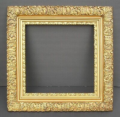 Antique Aesthetic Victorian Ornate Swirl and Swirl Gold Picture Frame 14 x 14