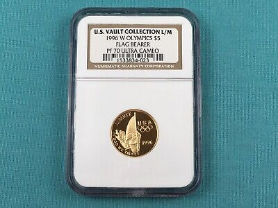1996-W US Mint 5 Dollar Gold Proof Coin Commem Flag Bearer PF70 Ultra Cameo NGC