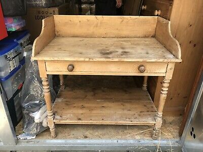 Antique Vintage Pine Country Farmhouse Wash Stand / Side Table