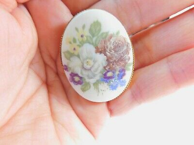 Hand Painted White Yellow Purple Blue Enamel Floral Porcelain Brooch Vintage
