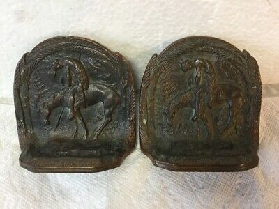 Antique Pair Solid Bronze Bookends The End Of The Trail by James Earle Fraser