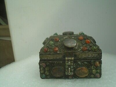 Splendid large antique metal covered casket box with agate / hardstone cabochons