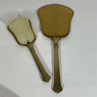 Vintage Collectible Hand Held Brass Mirror and Brush 2 PC. Set Victorian Design
