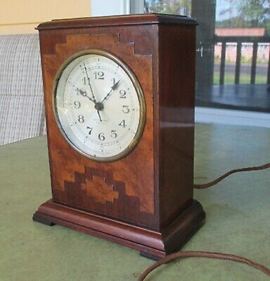 1930's Seth Thomas clock electric spin start deco wood Working