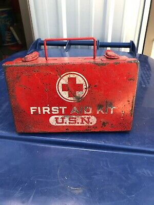 Vintage Military WWII/ WW2 U.S.NAVY Medical / First Aid Field Kit Box/ Red Cross