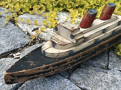 Primitive Antique Hand Made Painted WOODEN BOAT Ocean Liner Pull Toy RUSTIC SHIP