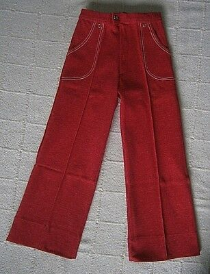Vintage Stretch Trousers -Age 5 Years-110 cm - Red Marl - Zip Front - Danish-New