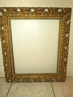 """Antique Ornate Gold Gilt Oil Painting Or Mirror Wood Compo Frame-19.5"""" x 22.5"""""""