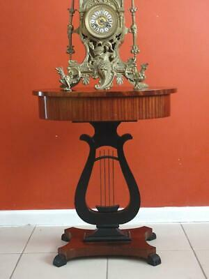 Antique Vintage French Lyre Form Sewing Table Lamp Bedsidet table  Stand Cabinet