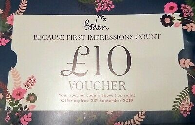 £10 Boden Voucher with extra 20% off and no charge for delivery or returns.