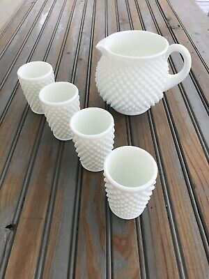 """Fenton """" Milk Glass Hobnail Pitcher with 4 matching Glasses"""