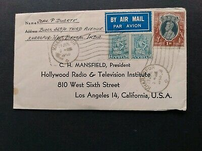British Colony - Air Mail Cover from India to U.S.A. ( 1950 )
