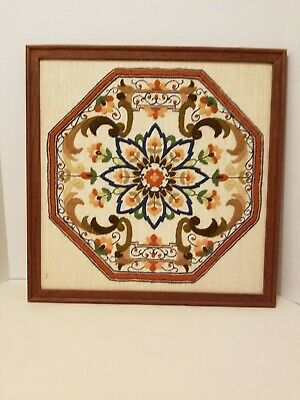 Vintage DIMENSIONS 'CHINESE MEDALLION' Crewel finished  framed Chinoiserie