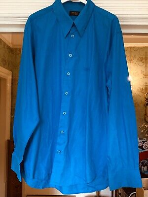 "VERSACE VINTAGE Classic V2 Gents BRIGHT BLUE SHIRT 17.5"" Collar MADE IN ITALY"