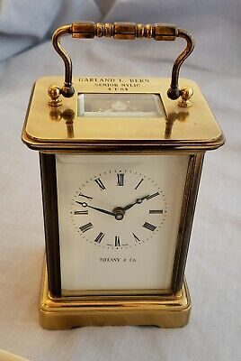 """Tiffany Solid Brass Carriage Clock 5&1/2"""" Total Height Working Well"""