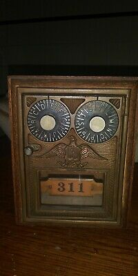 Vintage Oak Post Office Mailbox Brass Eagle #311 Coin Bank