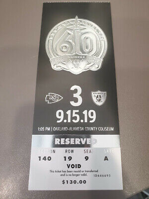 Oakland Raiders Kansas City Chiefs MINT Season Ticket 9/15/19 2019 NFL Stub