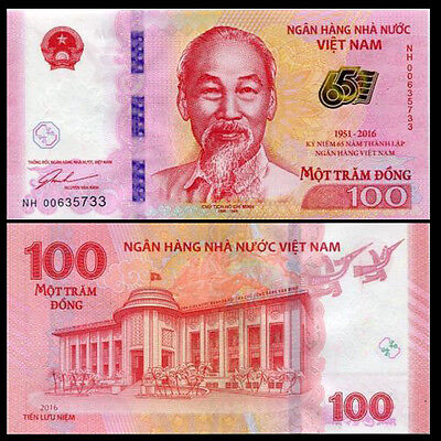 Vietnam 2016 year 100 Dong BrandNew Commemorative Banknotes
