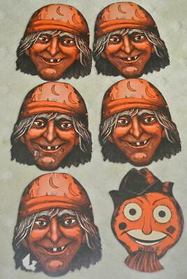 6 Vintage Die Cut Halloween Decorations 5 Pirates With Moon Caps 1 Scarecrow