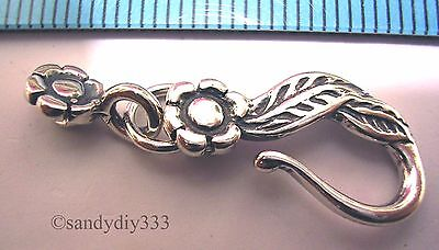 1 OXIDIZED BALI STERLING SILVER ROSE FLOWER LEAF FISH EYE HOOK CLASP 26.6mm #596