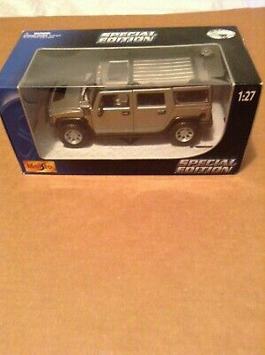 2003 HUMMER H2 SUV SILVER 1/27 DIECAST MODEL CAR BY MAISTO 31231 New Open Box