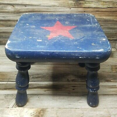 "10.5"" Tall Vintage Antique Milk Stool Wooden Square Top Red Starfour legs"