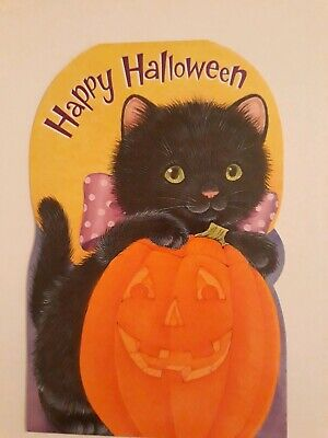 VTG 🌟Halloween Black Cat Inky Card/Env FORGET ME NOT Unused STAND-UP🌟Cute!