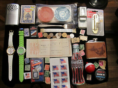 Junk Drawer Lot estate sale old coins vtg fishing bait old Chevy Impala watches