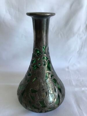 Antique Art Nouveau Green Glass With Sterling Silver Overlay Vase