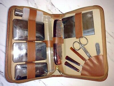 Vintage Ely Co. Germany large travel grooming kit in leather case