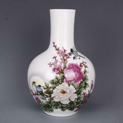 Chinese ancient antique hand make Peony Flowers and Birds vase