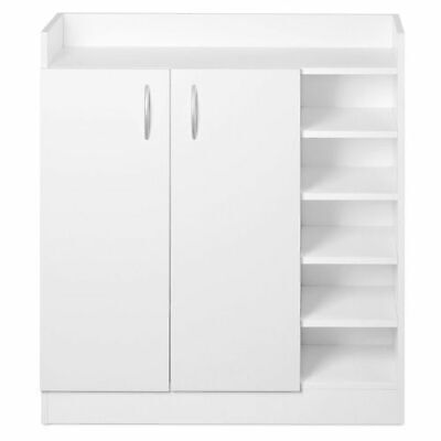 White 2 Door Cupboard Side Shelves Shoe Cabinet Storage Room Laundry Store NEW