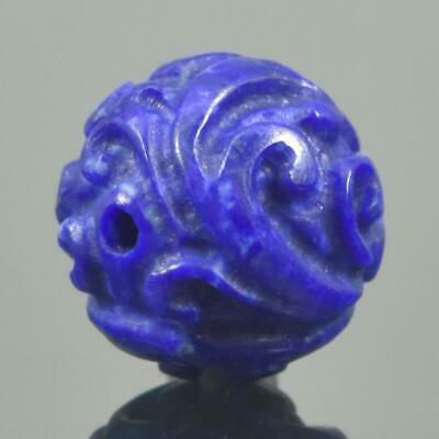 Carved Natural Blue Lapis Lazuli Round 9.45 mm Bead Carving 1.06 g Handmade