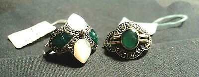 Two Vintage Sterling and Stone Rings, Made in Thailand, New with Tags