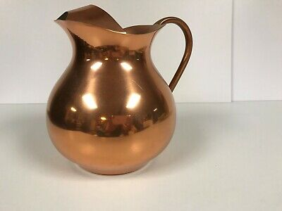 Copper Water Pitcher with Ice Lip made in Portugal