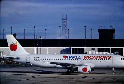2 Vintage Color Photo Slides of Apple Vacation Airlines Airplanes at Airport