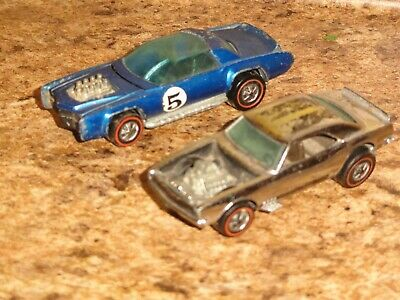 2 1969 Hot Wheels Redline Diecast Cars Heavy Chevy and Sugar Caddy
