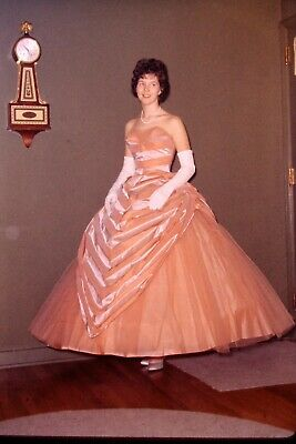 2 Vintage Color Photo Slides of a Pretty Girl Wearing Huge Peach Ball Gown Dress