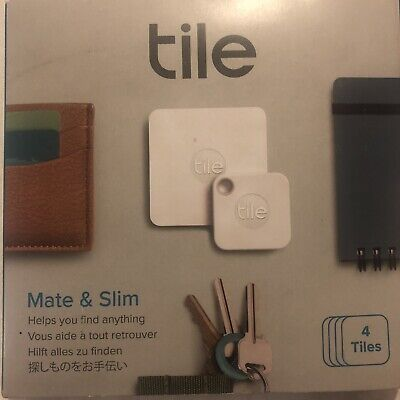 Tile Key Finder 4 Pk Combo Mate Slim Phone Bluetooth Tracker Replaceable Battery