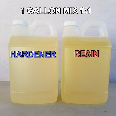 ONE GALLON Kit 1:1 - Flexible Epoxy Resin + Hardener Gravel Surface Cures Clear