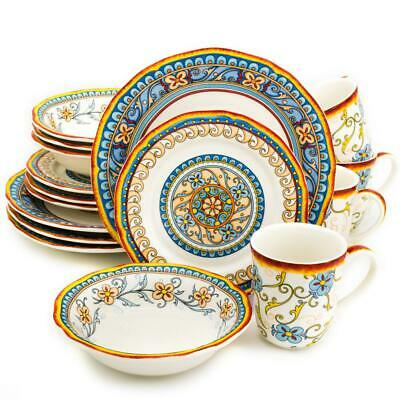 16 Piece Dinnerware Set Round Dining Service Dinner Dish Bowl Plate Multi Color