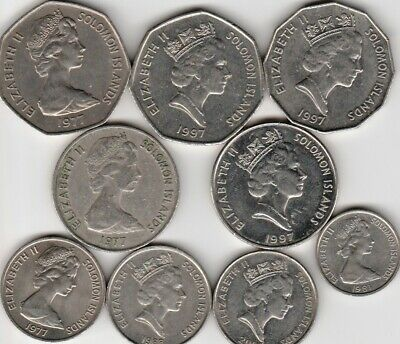 9 different foreign coins from SOLOMONS