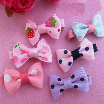 10 X Girl Baby Kids Children Hair Accessories Bows Snaps Alligator Clips Slide F