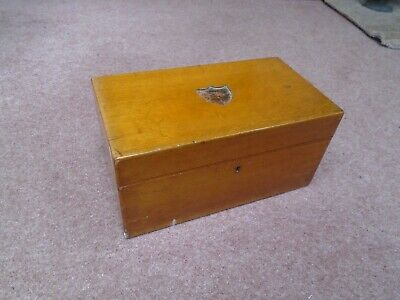 Antique Vintage Oak Lined Sewing Box Desk Top  Storage Box Or Jewellery Box