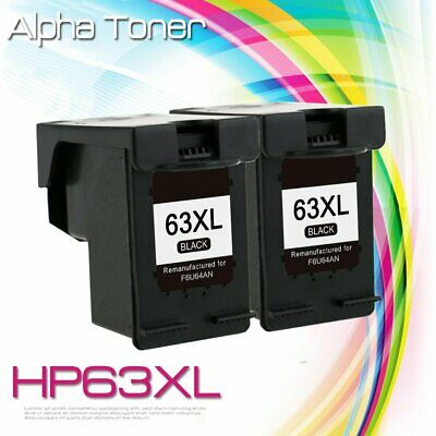 2PK 63XL Black Ink F6U64AN For HP 63 XL Officejet 3830 3833 3834 4650 5255 5258