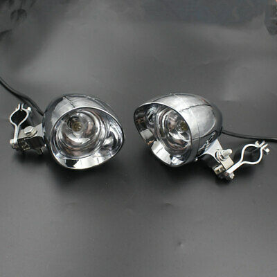 Motorcycle Bullet Passing Spot Fog Light With Guard Bar Tube Mount Bracket Clamp