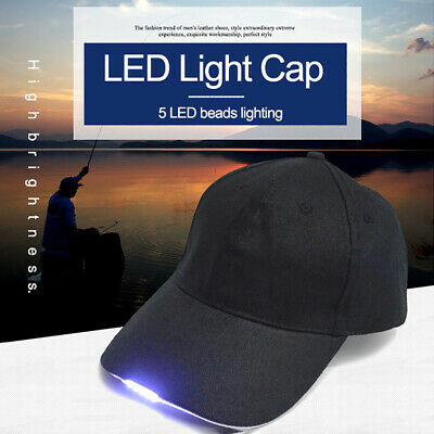 Men Outdoor LED Light Cap Rechargeable/Battery Camping Fishing Baseball Hat