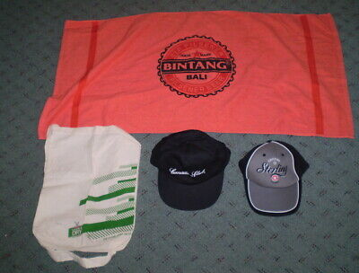 Towell bag & two caps  - Stirling, Canadian Club, Bintang and TED.