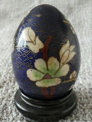 Vintage Cloisonné Decorated  Enamel Egg on Brass With Stand